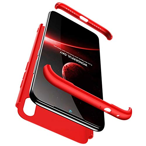 NiaCoCo Compatible con Huawei P20 Lite Silicona TPU A Prueba de Choques Caso,Ultra Thin Anti Scratch 3 en 1 diseño Protector Caso para Huawei P20 Lite-Rojo