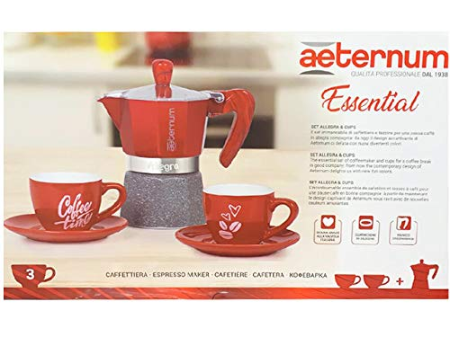 Bialetti Cafetera 3 tazas + 2 tazas rojo