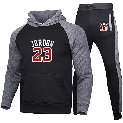 HGTRF Conjunto de chándal de Uniforme de Camiseta de Baloncesto Bulls 23# Jordans Traje de Ropa Deportiva Color de Costura Sudadera con Capucha Pantalones de Jogging XXL Black
