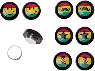 8 Pieces Magnetic Fake Logo Plug Rasta Flag Kit 0G Gauges Look (4 Pairs)