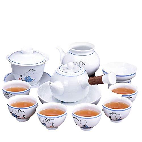 QGL-HQ À thé en porcelaine de style japonais Kung Fu Tea Set Glaze Teapot 6 tasses de thé avec Accueil Coffrets cadeaux Cup & Saucer (Couleur: Blanc, Taille: 12pcs)