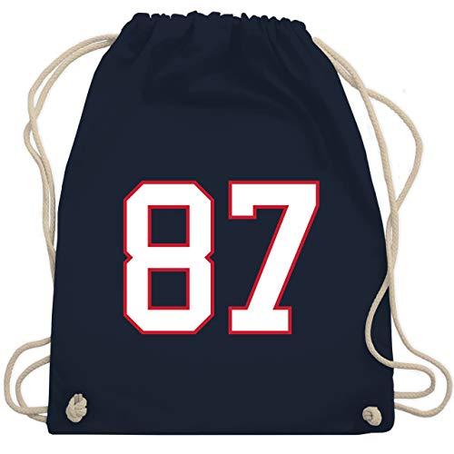 American Football Outfit Trikot - Football New England 87 - Unisize - Navy Blau - football handtasche - WM110 - Turnbeutel und Stoffbeutel aus Baumwolle