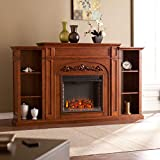 72-inch Autumn Oak Bookcase Electric Fireplace - N/a Brown Traditional Resin Wood Finish Adjustable Thermostat Remote Control