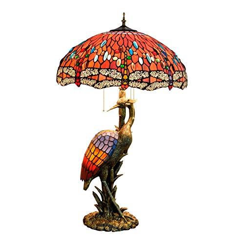 WEI-LUONG Mujer del estilo de lámpara de escritorio de la grúa, 50CM perlas de vidrio de color rojo, luz de la noche Adecuado Compatible with su estilo de cubierta Habitación Decorar lámpara de mesa L
