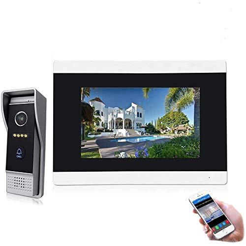 JeaTone Videoportero Ip Wifi Kit Interfono IP de 7 Pulgadas TFT con Cable, Sistema de Seguridad en el hogar – Pantalla Táctil con Visión Nocturna + Tarjeta SD de 16 G