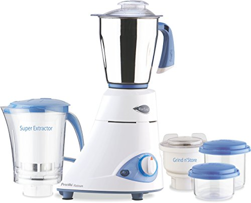 Preethi Blue Leaf Platinum 550 Watts 3 Jar Indian Mixer Grinder 110...