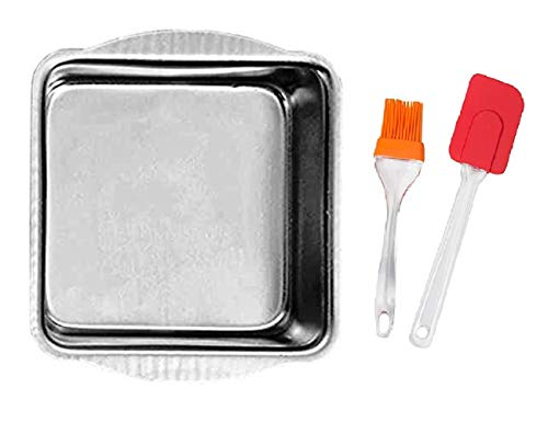 Easy Chef ™ Aluminium Square Shape Cake Baking Mould for Oven & Convection (Silver) with Big Silicone Oil Pastry Brush Spatula Set