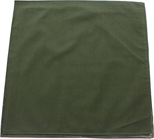 ARMYU Olive Drab Solid Color Jumbo Military Bandana (27' x 27'), Solid Head Scarf Do-rag 100% Cotton Bandanna Cover