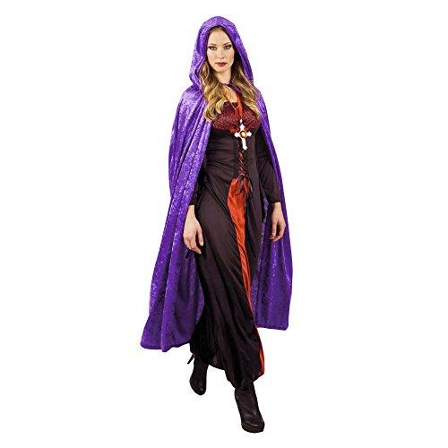 JZK Heren dames paars lang mantel met kap fluwelen cape met capuchon gewaad Halloween kostuum voor feest heks duivel vampier kostuum