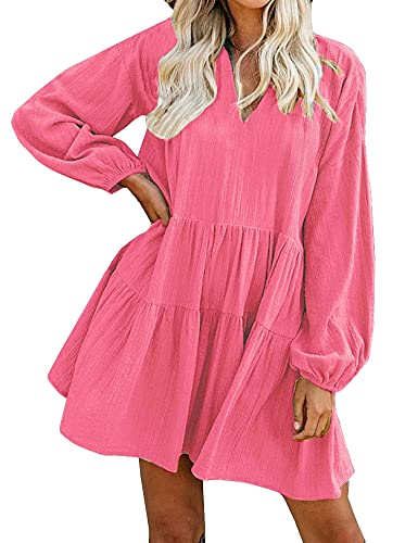 FANCYINN Long Sleeve Shift Tunic Dress Ruffle Swing Babydoll Juniors Mini Ruffle Dress with Pockets Peach L