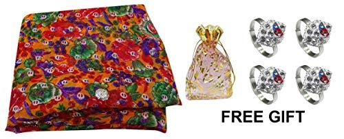 PEEGLI Vintage Indio Sari Multicolor Seda Mezcla DIY Artesanía Tela Mujeres Étnicas Tradicionales Desgaste Sari Bordado con Punta Anillo