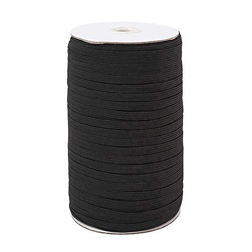 100Yards Length 1/4 Inch Width Braided Elastic Band White Elastic String Cord Heavy Stretch High Elasticity Knit Elastic Band for Sewing Craft DIY Sewing Mask Bedspread (Black)