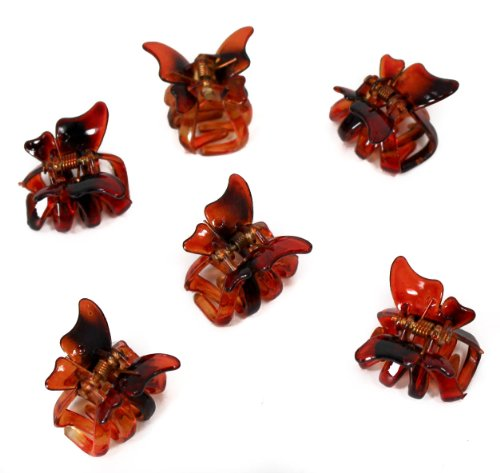 Set of 6 Mini 2cm Butterfly Hair Claws/Clips - Brown by Top Brand