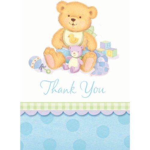 Precious Bear Blue Thank You Cards 8ct