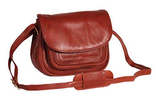 A1 FASHION GOODS Femmes Doux MARRON Sac à Bandoulière En Cuir Petit Style Classique Multi Zip Poches Flap Over Cross Body Bag - A94