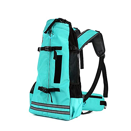 MENGKA Dog And Cat Backpack With Reflective Stripes, Outdoor Travel Pet Bag For Small And Medium Sized Dogs, Green And Black.