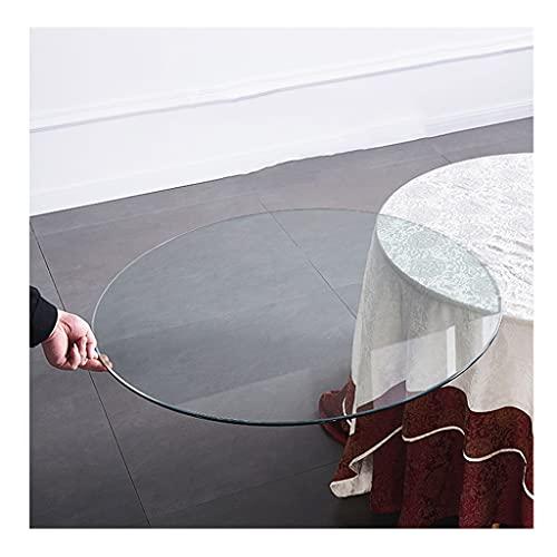 WXJ Tablero Redondo de Vidrio Templado Transparente con Tapete Antideslizante, Pulido Biselado, 78 Cm / 90 Cm De Diámetro, Utilizado En Mesa de Comedor, Mesa de Centro, Hogar Y Oficina