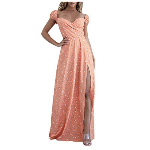 Xiangdanful Sexy V-Ausschnitt Abendkleider Cocktailkleid Hochzeit Brautjungfernkleid Casual Lange Kleid Ballkleid Damen Split Maxikleid Blumendruck Party Kleid Dress Abschlusskleid (XXL, Orange)