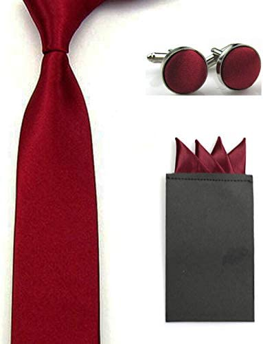 Men Solid Skinny Neck Tie Pre-Folded 4 Folds Hanky Pocket Square Cufflinks Set Color: Dark Red