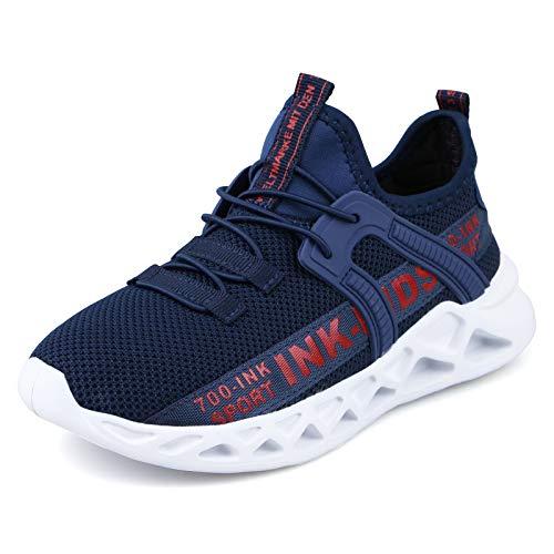 Decai Ligeras Zapatillas Deportivas Unisex Niños Zapatillas de Correr Niño Zapatos Deportivo Transpirable Niña Zapatos de Running Deportes de Exterior Interior Azul Blanco 26 EU