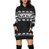 VEKDONE Womens Ugly Christmas Sweater Christmas Dress Snowflake Merry Xmas Mini Dress Hooded Sweatshirt(Black,3X-Large)