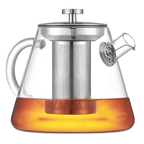 SILBERTHAL Tetera Cristal con Filtro 1,5 litros | Tetera para te de Vidrio con Tapa de Acero Inoxidable | Teapot