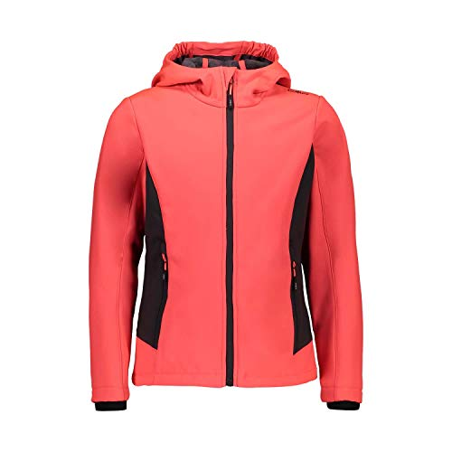 CMP – F.LLI Campagnolo Mädchen Softshelljacke mit ClimaProtect-Technologie 7.000mm, Red Fluo-Antracite, 116
