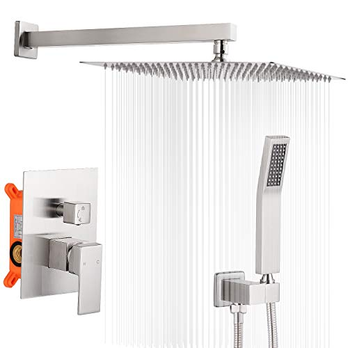 12 Inches Shower System Bathroom Rainfall Shower Faucet Set Complete Wall Mounted Shower Head and Handle Set with Rough-in Valve Body and Trim Kit,Brushed Nickel