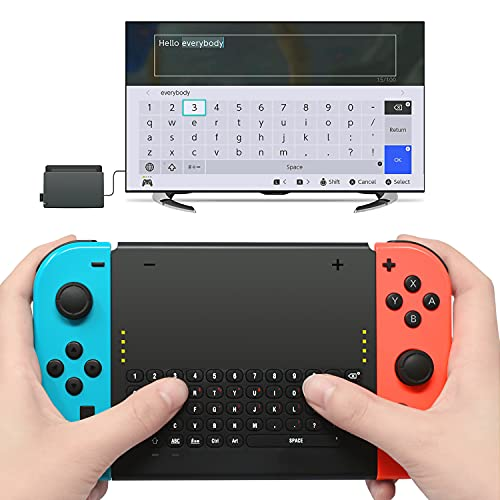 Wireless Keyboard Compatible with Nintendo Switch, Wireless Gamepad Chatpad Message Keyboard for Switch, 2.4G USB Rechargable Handheld Remote Control Keyboard for Switch with a 2.4G Receiver
