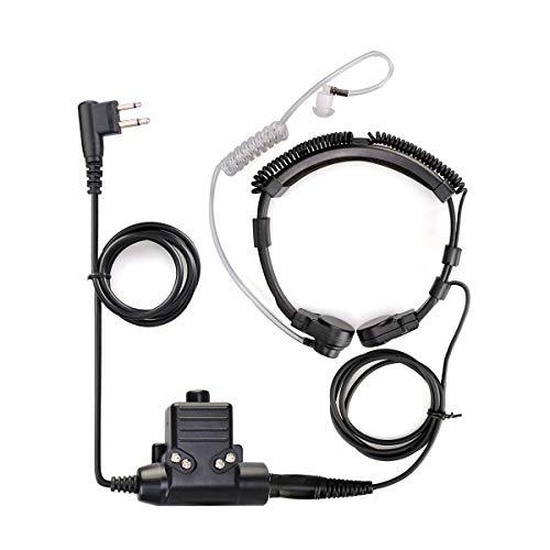 Retevis ETK006 Micrófono de Garganta Táctico Ajustable con PTT Compatible para Motorola CP040 DP1400 GP300 GP2000 Hyera Midland Two Way Radio (1 Pieza)