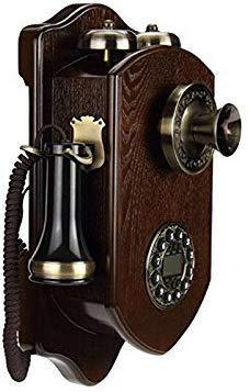 Dirgee Teléfono Fijo con Cable de Madera Rotatoria Retro Vintage con Tarjeta de Hotel inalámbrica Creativa (Color: b) (Color : B)