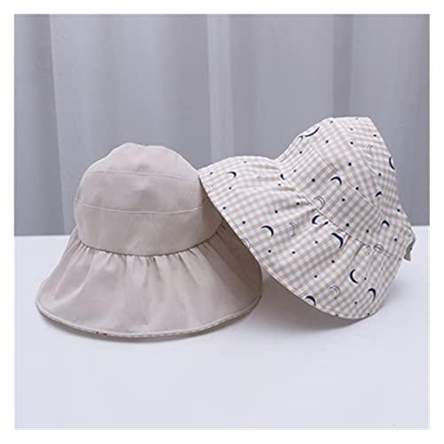 Acoding Sombreros De Moda Para Niños Sombreros Solar Cap UV Beach Sombrilla De Sol Plateado Plegable Plateado Plegable (Color : Moon beige, Size : 48 53cm)