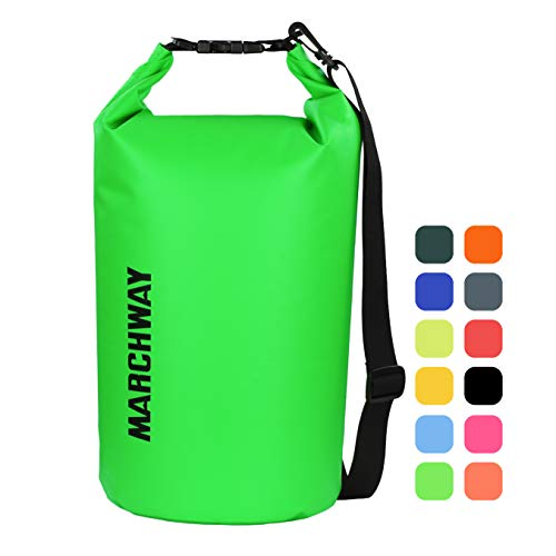 MARCHWAY Floating Waterproof Dry Bag 5L/10L/20L/30L, Roll Top Sack Keeps Gear Dry for Kayaking, Rafting, Boating, Swimming, Camping, Hiking, Beach, Fishing (Green, 5L)