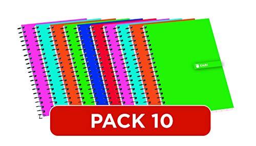 Cuadernos 12º Enri. Pack de 10 unidades. Tapa blanda. Cuadrícula 4x4. Colores aleatorios.