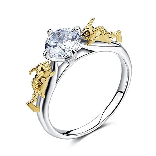 Pika PikaChu Anillo de diamante transparente D/VVS1 de corte redondo, regalo para mujeres y niñas aficionados en oro de 14 quilates chapado en oro de dos tonos de plata 925