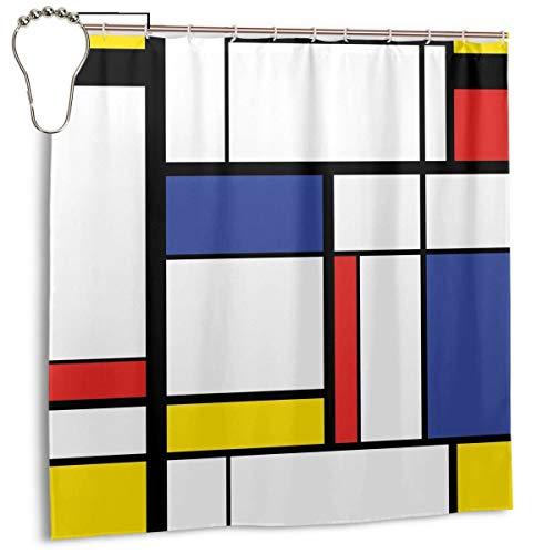 ZUL Cuadrícula Azul Patrón Abstracto Moderno Pintura Mondrian Avant Bauhaus Geométrico Rectángulo Cubismo Color, Decoración del hogar Cortina de Ducha 72inX72in