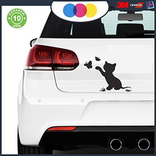 Adesivo Gatto Gattino con Farfalle, Sticker Cat per Porte, finestre, Mobili, Pareti, Muro, Auto, Moto, Camper, Tuning 15x20 cm (Nero o Bianco)