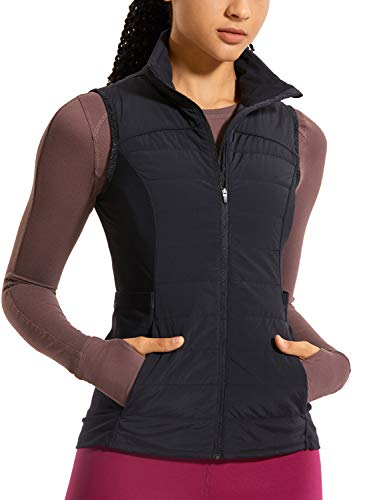 CRZ YOGA Women's Athletic Workout Run Down Puffer Vest Lightweight Full-Zip with Pockets Black L