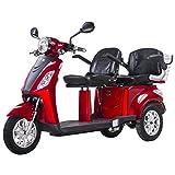 Scooter eléctrico para dos, Minusvalido, Vehículo De Movilidad, Asiento Doble, ZT-18 1000W Dos Compartimientos de Almacenamiento (ROJO)