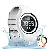 synwee Sports Fitness Tracker Watch,IP68 Waterproof, Non-Bluetooth, with Pedometer/Vibration Alarm Clock/Timer,for Kid Children Teen Boys Girls Women (White)