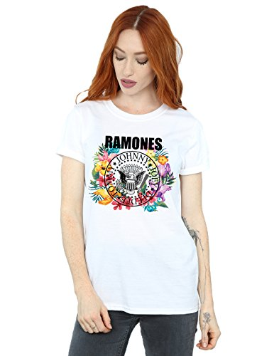 Ramones Mujer Circle Flowers Camiseta del Novio Fit Blanco Small