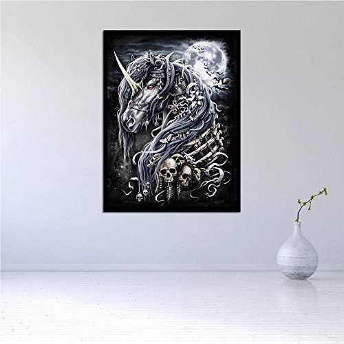 QianLei Modern olieverfschilderij muurkunst maan eenhoorn en skelet paard Home Decoration Home Decor Canvas Schilderij Poster Boy's Room 40x60cm no Frame