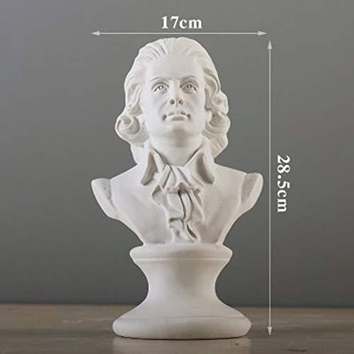 CZ-wyf Estatuilla de Resina de Mozart, coleccionables de la Estatua de la Escultura de la mitología Griega de Bustos para los Ornamentos caseros de la Resina para el jardín, Alto 28.5cm