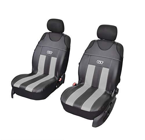 GT Kunstlederen universele stoelhoezen, meerdere kleuren, sportdesign, geschikt voor Peugeot, partners, voorhoezen grijs