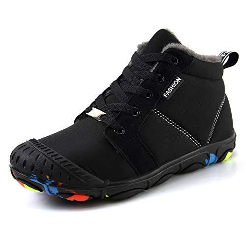Foobrues Winterschuhe Jungen Schneestiefel Kinder mädchen Wasserdicht Warm Leicht rutschfeste Turnschuhe Freizeit Schuhe, Schwarz 38