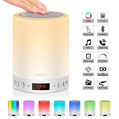 Lámpara de Mesa, Urslif Lámpara de Noche Lámpara de Tabla Altavoz Bluetooth Reloj Despertador FM Tacto Altavoz Portátil Reproducción de MP3 Soporte TF AUX-IN USB Recargable