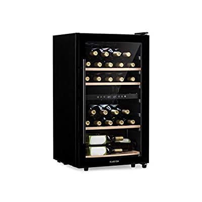 Klarstein Barossa Duo - Wine Cooler with Glass Door, Wine Cooler, Wine Fridge, 2 Zones, 34 Bottles, 5 to 18 ° C, Quiet: 42 dB, LED, Touch, Door Stop Both Sides, Height Adjustable - Antrachite from Klarstein