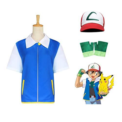 OPM Halloween Ash Ketchum Disfraces para niños y Adultos Pokemon Cosplay Set de Disfraces Regalos para Fiesta 3PCS Niños (140cm)