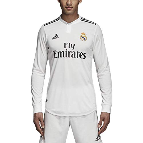 adidas 2018-2019 Real Madrid Home Authentic Long Sleeve Jersey (Core White) (XL)