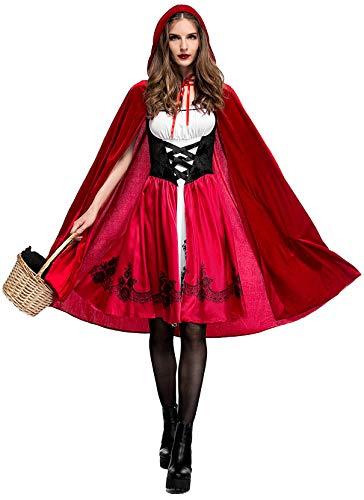Soyoekbt Women's Little Red Riding Hood Costume Halloween Cloak Cosplay XL